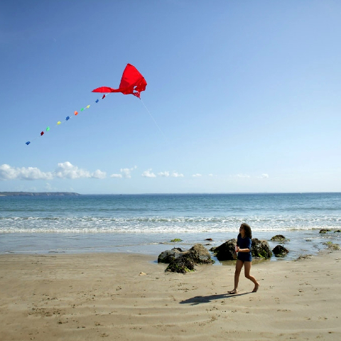 Girl on the beach with a kite